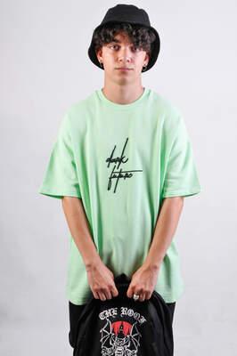 HollyHood - Dark Future Nakışlı Neon Yeşil Oversize Tişört