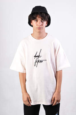 HollyHood - Dark Future Nakışlı Pembe Oversize Tişört
