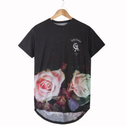 HollyHood - Santa Monica LA Rose Siyah T-shirt