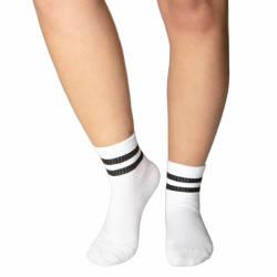 Siyah Çizgili Beyaz Çorap - Thumbnail