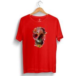 The Street Design - HollyHood - Street Design Flower Skull Kırmızı T-shirt
