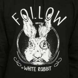 Bant Giyim - Follow White Rabbit Siyah Hoodie - Thumbnail