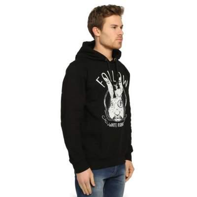 Bant Giyim - Follow White Rabbit Siyah Hoodie
