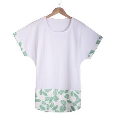 Leaf Long Fit Beyaz T-shirt