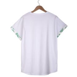 Leaf Long Fit Beyaz T-shirt - Thumbnail