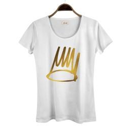 HollyHood - HollyHood - Gold Crown Kadın Beyaz T-shirt