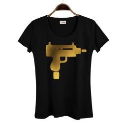 HollyHood - HollyHood - Gold Uzi Kadın Siyah T-shirt
