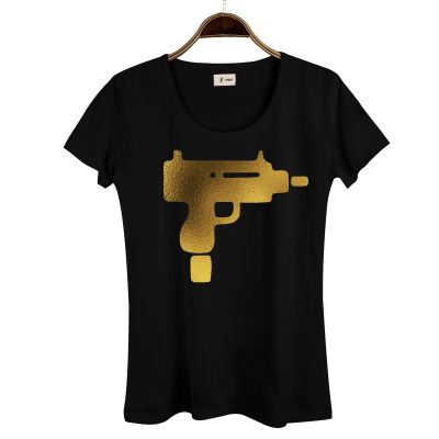 HH - Gold Uzi Kadın Siyah T-shirt