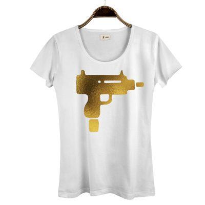 HollyHood - HH - Gold Uzi Kadın Beyaz T-shirt