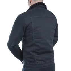 Grj Denim - Jean Coat with Fur Siyah Ceket - Thumbnail