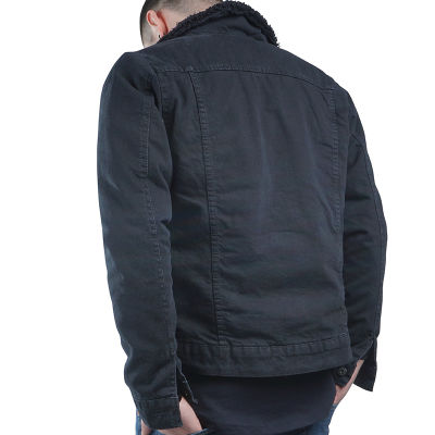 Grj Denim - Jean Coat with Fur Siyah Ceket