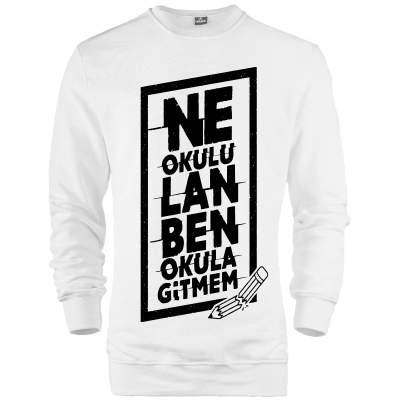 İndirim - HH - Contra Ne Okulu Lan Beyaz Sweatshirt (Fırsat Ürünü)