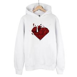Beatenfame - HH - Elçin Orçun Red Diamond Beyaz Cepsiz Hoodie