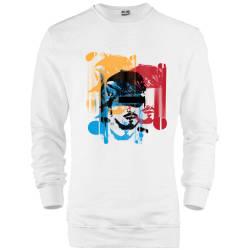 İndirim - HH - Hidra Hoşgeldin Dünya Senin Evin Beyaz Sweatshirt (Fırsat Ürünü)