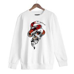 Jora - HH - Jora Snake Skull Beyaz Sweatshirt