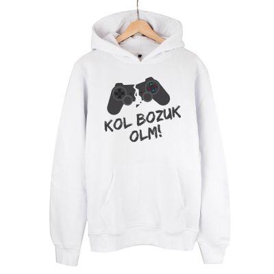 HH - Kol Bozuk Beyaz Cepli Hoodie (Fırsat ürünü)