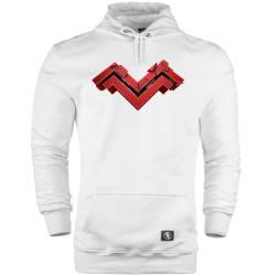 İndirim - HH - Mithrain Logo Beyaz Cepli Hoodie (Fırsat Ürünü)