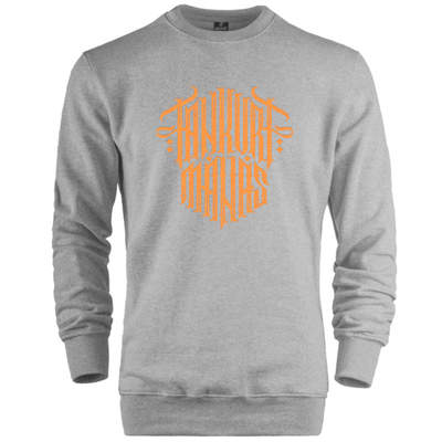 HH - Tankurt Manas Tipografi Gri Sweatshirt (Fırsat Ürünü)