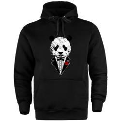 Outlet - HH - The Street Design Smokin Panda Cepli Siyah Hoodie (Fırsat Ürünü)