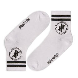 Hollyhood - Siyah Çizgili Beyaz Çorap - Thumbnail