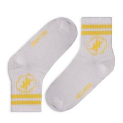 Hollyhood - Sarı Çizgili Beyaz Çorap - Thumbnail