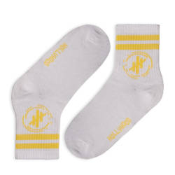 HollyHood - Hollyhood - Sarı Çizgili Beyaz Çorap