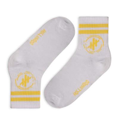Hollyhood - Sarı Çizgili Beyaz Çorap