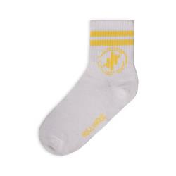 HollyHood - Hollyhood - Sarı Çizgili Beyaz Çorap (1)