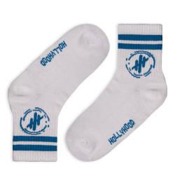 HollyHood - Hollyhood - Mavi Çizgili Beyaz Çorap