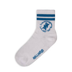 HollyHood - Hollyhood - Mavi Çizgili Beyaz Çorap (1)