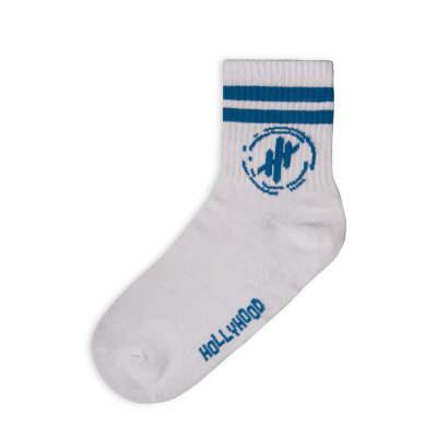 Hollyhood - Mavi Çizgili Beyaz Çorap
