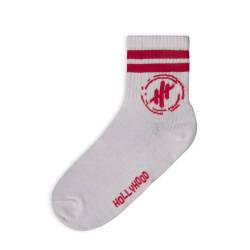 Hollyhood - Kırmızı Çizgili Beyaz Çorap - Thumbnail