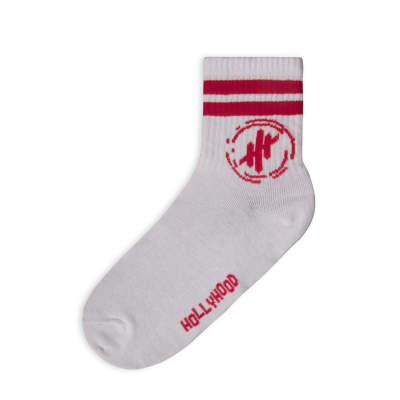 Hollyhood - Kırmızı Çizgili Beyaz Çorap