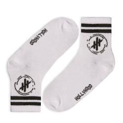 HollyHood - Hollyhood - Siyah Çizgili Beyaz Çorap