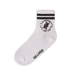 HollyHood - Hollyhood - Siyah Çizgili Beyaz Çorap (1)