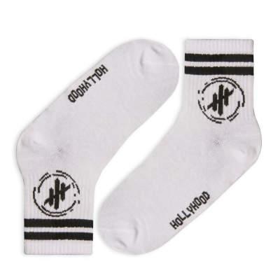 Hollyhood - Siyah Çizgili Beyaz Çorap