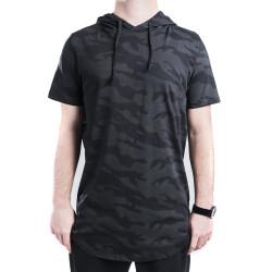 HollyHood - Gri & Siyah Kamuflaj Kapüşonlu T-shirt