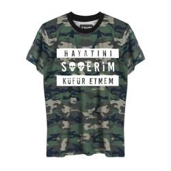 HH - Contra Hayatını S**erim Küfür Etmem Kamuflaj T-shirt - Thumbnail