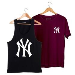HollyHood - HH - NY Big Siyah Atlet + Small Bordo T-shirt Paketi