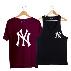 HollyHood - HH - NY Small Siyah Atlet + Big Bordo T-shirt Paketi