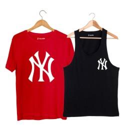 HollyHood - HH - NY Small Siyah Atlet + Big Kırmızı T-shirt Paketi