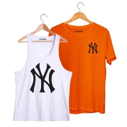 HollyHood - HH - NY Big Beyaz Atlet + Small Turuncu T-shirt Paketi