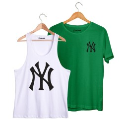 HollyHood - HollyHood - NY Big Beyaz Atlet + Small Yeşil T-shirt Paketi