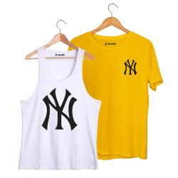 HollyHood - HollyHood - NY Big Beyaz Atlet + Small Sarı T-shirt Paketi