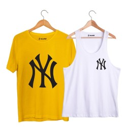HollyHood - HollyHood - NY Small Beyaz Atlet + Big Sarı T-shirt Paketi