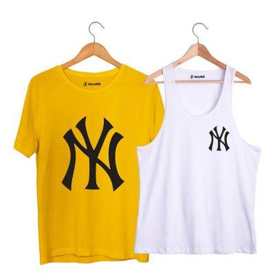 HH - NY Small Beyaz Atlet + Big Sarı T-shirt Paketi
