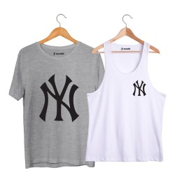 HollyHood - HH - NY Small Beyaz Atlet + Big Gri T-shirt Paketi
