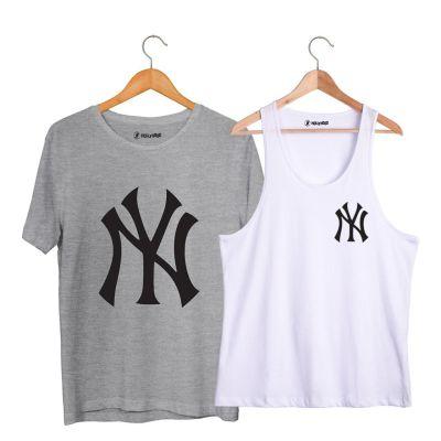HH - NY Small Beyaz Atlet + Big Gri T-shirt Paketi