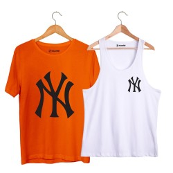 HollyHood - HollyHood - NY Small Beyaz Atlet + Big Turuncu T-shirt Paketi