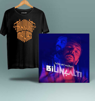 HH - Tankurt Manas Tipografi Siyah T-shirt + Albüm (Özel Paket)
